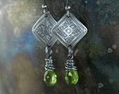 Downton Abbey Drop Earrings -  Peridot August Birthstone -  Sterling Silver Boho Chic