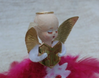 Vintage Pink Angel Tree Topper or Ornament, Feathers, Chenille, and Paper Mache