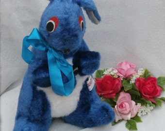 Blue Kangaroo and Joey Plush Toy, Superior Toys, Foam Pellet Stuffed Toy, Carnival Prize Style