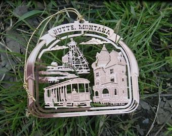 Butte, Montana Christmas Decoration, Copper Plated Brass Souvenir Ornament