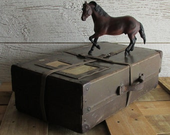 Vintage shipping container - decorative storage box - antique case