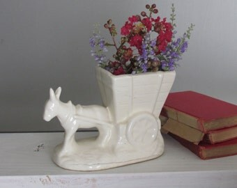 Donkey and Cart - Vintage Art Pottery Planter - quirky animal