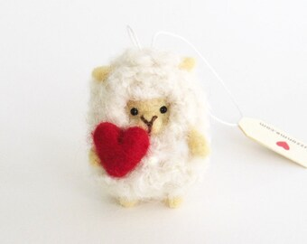 White sheep ornament, Needle felted miniature lamb with a felted red heart, felt animal ornament