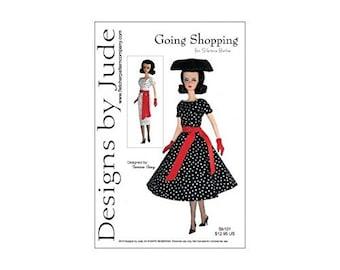"PDF Going Shopping Dress Pattern for 12"" Silkstone Barbie Dolls"