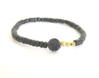 Black Druzy Minimalist Bracelet with Natural Coconut Beads / Mystical Druzy Quartz Layering Bracelet / Bohemian Stacking Bracelet black gold