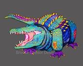 Laughing Alligator Giclee Print