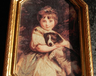 Vintage Florentine Wall Decor - Girl with Dog - Made in Italy Gold frame wall hanging home decor italian print