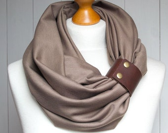 TAUPE Infinity Circle Scarf Shawl Loop with leather strap,  infinity scarves,