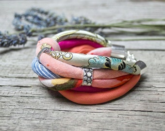 colorful FABRIC bracelet, fashion accessories, upcycled fabric bracelet
