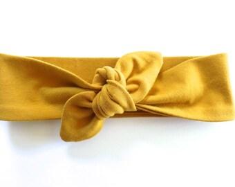 Mustard Yellow Baby Headband - Top Knot Headband - Stretch Headband - Vintage Style - Boho Baby Modern Baby - Dark Marigold Sunflower Gold