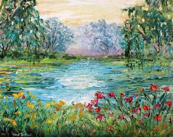 Original oil painting Meditation Pond Landscape palette knife impressionism on canvas fine art by Karen Tarlton