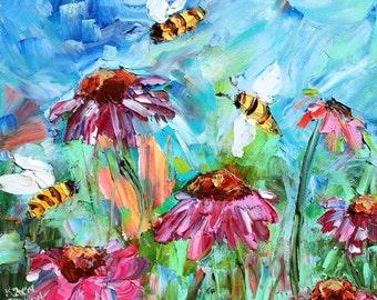 Original oil painting Spring Bee Dance palette knife impressionism on canvas fine art by Karen Tarlton