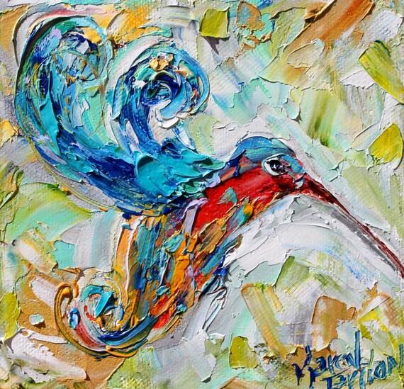 Original Oil Painting Hummingbird Flight 6x6 Palette Knife