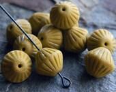 Matte mustard Czech Glass Beads, Textured Bicone Beads, Tribal glass bicone, 11mm, Matte opaque mustard (15pcs)