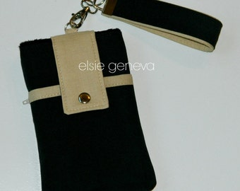 Black Phone Case with Wristlet with Back Zipper Pocket or Black Note Optional Shoulder Strap Taupe Natural iPhone 4 5 6 Plus Otterbox