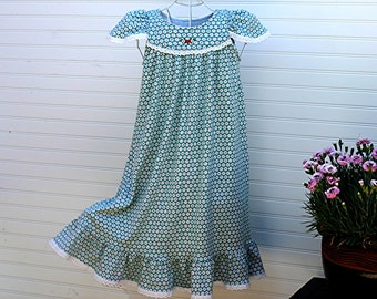 Nightgown-Size 8 /Girls, 100% Cotton-Knit, Teal Green & Daisies, // READY to SHIP // Visit shop for other available sizes)