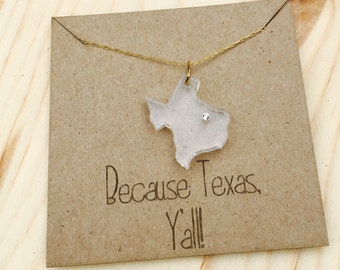 Acrylic Texas state necklace with gold filled chain and Swarovski crystal, laser cut