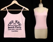 Vintage 1984 The Keg 3rd Annual Beach Party Tacoma Tank Top sz S Light Pink Knit Fun Tees