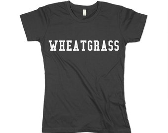 womens wheatgrass shirt, wheatgrass, army green, olive green, wheatgrass print, Health food,  small, medium, large, xl