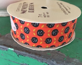 Vintage Halloween Fabric Ribbon Black Pumpkins on Orange