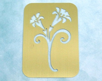 Brass Stencil / NEW / Lily Flowers / 2001 T.S.C. Designs / Dry Stylus Embossing / Crafting Supply / Scrapbooking, Cards, Altered Art