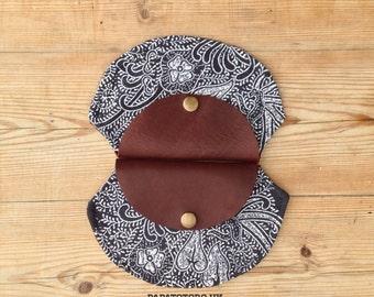 Hand block printed Leather & Linen coin pouch purse Indigo