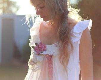 altered couture upcycled dress, medium size white shiny cotton sleeveless dress, hand beaded, vintage lace, summer dress