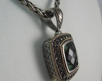 Signed Effy Designer Necklace 925 18K Diamond & Green Stone Pendant Necklace
