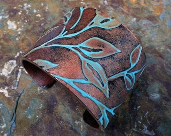 Beautiful Laurel copper and patina polymer clay cuff bracelet