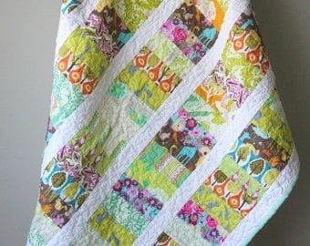Modern Baby Quilt, Coin Stacked Quilt, Nursery Bedding, Toddler Quilt, Crib Quilt, Baby Girl Quilt, Lime Green, Gnomes, Handmade Quilt