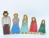 little house on the prairie family - wooden waldorf toy