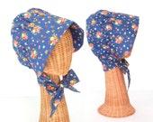 Summer Bonnet * Vintage Sun Hat * Blue Floral Sunbonnet