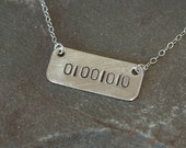 Binary Code Necklace, Initial Necklace, Bridesmaid Jewelry, Unique Gift for Bridesmaids, Best Friend Gift, Friendship Gift, Wedding Gifts