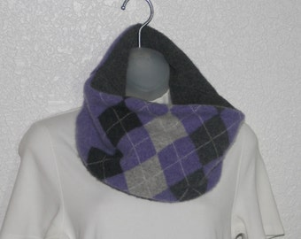 Cashmere cowl - felted and upcycled - Argyle