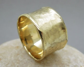 Wide gold wedding ring for men and women