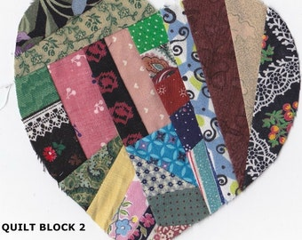 One Paper Pieced Crazy Quilt Heart Appliqué ~ 6 Inch Hand Made Scrap Art Fabric Patchwork Heart Shape ~ Your Choice Of 5 Heart Patterns