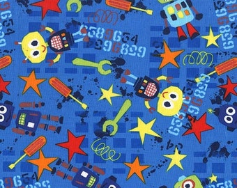 Bot Boy in Blue by Michael Miller Fabrics - your choice of cut