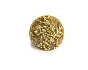 Antique Brass Blossoms Button Industrie Parisienne