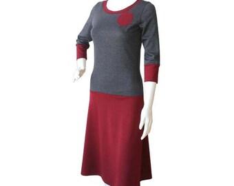 A Line Dress, Jersey Dress, Day Dress, Custom Dress, Grey Dress, Burgundy Dress, Plus Size Dress, Made to order, Dress with Applique, Dress