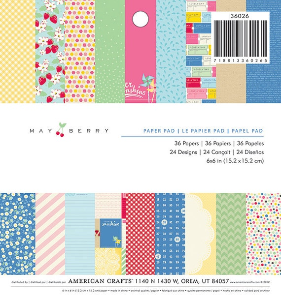 Items similar to american crafts 6x6 paper pad mayberry for Craft paper card stock