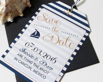 Save the Date - Nautical Luggage Tag Destination Wedding - Travel Theme