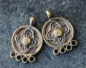 Mykonos Antiqued Brass Findings - 4 hole Earring Parts or End Bar - Jewelry Making Supply - Boho Findings For Jewelry - Made In Greece