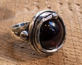 Sterling silver ring, gemstone ring, garnet ring, dome red oxidized ring, statement ring, cocktail ring, red gemstone ring - Mirage R1470-7