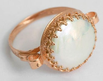 Solid Rose Gold ring, engagement ring,  pearl Ring, 14k rose gold ring, princess gold crown ring, unique engagement ring - Dejavu. RG1172