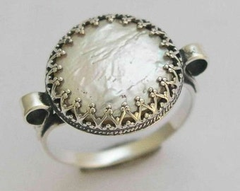 Coin pearl ring, fresh water pearl ring, sterling silver ring, engagement ring, wedding ring, filigree crown ring - Snow white 2 - R1172S