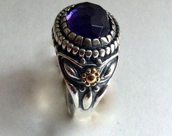 Amethyst ring, Silver gold ring, statement ring, two tone ring, gemstone ring, gypsy ring, hippie ring, boho ring - Spanish Eyes R2217