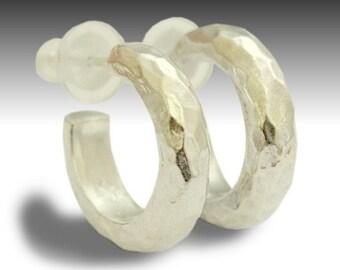 Small hoop earrings, Sterling silver earrings, hammered hoops, simple earrings, casual hoops, everyday earrings - Through Hoops -E0270H