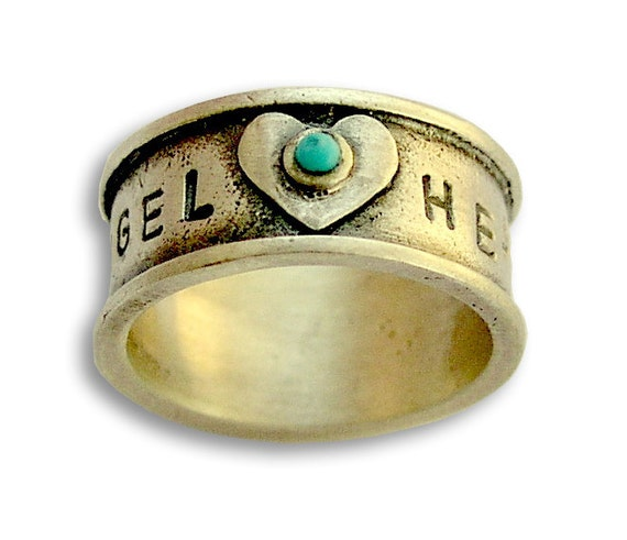 Sterling Silver Ring, promise ring, valentines ring, December birthstone ring, hand stamped band, turquoise ring band-  Angel heart R1572