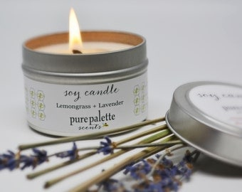 Lemongrass Lavender Soy Candle in 4Oz. Travel Tin Essential Oil Pure Soy Wax