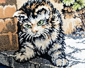 "Rug Puppies & Kitten Antique Chenille Excellent Condition 38"" long"